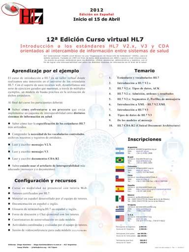 CURSO INTRODUCCIÓN A LOS ESTÁNDARES HL7 (e-Learning)
