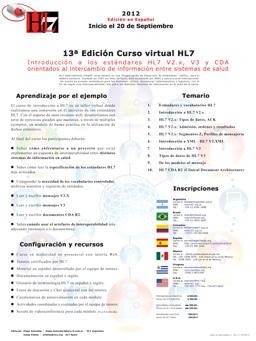 13ª Edición Curso virtual HL7
